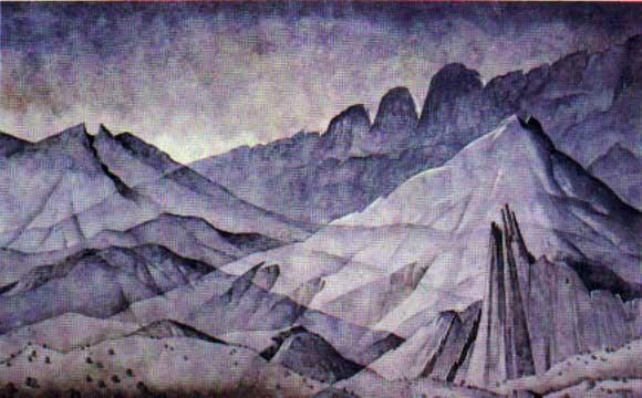 Montañas de Monterrey. Oleo sobre tela, colección de la Cámara Nacional de Comercio de Monterrey.